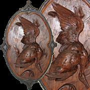 """SALE Antique 27"""" Hand Carved Black Forest Plaque - Fruits of the Hunt, HUGE Goose or ..."""