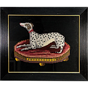 SOLD Fine Vintage English Victorian Style Needlepoint of a Dog, Dalmation, in Antique Frame