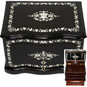 "SALE Rare Antique French 12"" Tantalus Style Cigar Chest or Box, Ebony w/ Ornate Inlay ..."