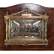 SOLD Antique Cast Bronze Grand Tour Souvenir, Leonardo Da Vinci's Last Supper, Silver Plate an