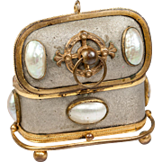 SOLD Charming Little French Antique Jewelry Casket, Mother of Pearl Half Egg Shells on Ormolu