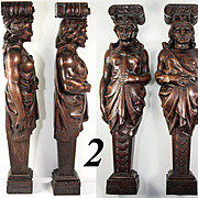 """SALE FAB Antique Hand Carved Wood Caryatid Figures, PAIR, 15.5"""" Tall, Man & Woman"""