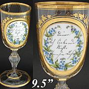 "SALE Antique Bohemian 9.5"" Cut Glass Goblet, Layered Glass Medallion, HP Floral & Gold E"