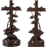 "SALE Antique Hand Carved Black Forest Crucifix and Holy Font, with Lamb, 10.5"" Tall"