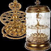 SALE Fabulous 19th Century Victorian Era French Cigar Server, Box, Engraved Glass & Ormolu