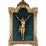 "Antique 1700s Hand Carved French Christ Figure and Alter Crucifix, 19.5"" Frame, 10"""