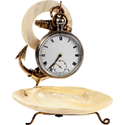 SALE Antique French Mother of Pearl Shell & Anchor Pocket Watch Stand, c.1850s