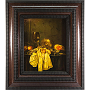 SALE Vintage Oil Painting, A Dutch Master Look-alike Still Life in Charming Frame