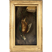 SALE Hunt Theme Still Life, c.1831 Oil Painting, French Artist Signed: 1831, H.Dumont ...