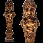 SALE Fine Hand Carved Antique Caryatid Figural Shelf Support, Furniture Salvage Portrait Corbe