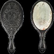 SALE RARE Victorian Gutta Percha Vanity Mirror, Figural