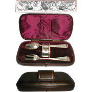 SALE Sterling Silver Dining Flatware/Napkin Ring Set in Leather Presentation Case, 19th c.