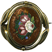 SALE Pristine Antique Goldstone Micro Mosaic Brooch, Floral - Complete, no damage micromosaic