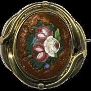 SALE Pristine Antique Goldstone Micro Mosaic Brooch, Floral - Complete, no damage micromosaic