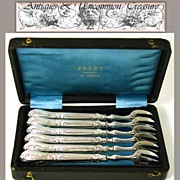 SOLD Antique French .800/1000 Silver Oyster or Shellfish Fork Set, Box - Silversmith: GIRARD,
