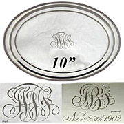 "SALE PENDING Antique Gorham Sterling Silver 10"" Vanity Tray, 1902 Dedication"
