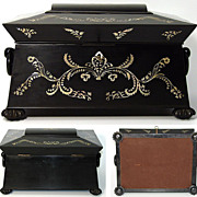 SOLD Antique 1820s French Ebony & Pearl Sewing Box, Sarcophagus