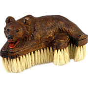 SALE Antique Hand Carved Wood Black Forest Bear is a Crumb or Clothes Brush