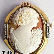 SALE Antique Shell Cameo in Large 18k Art Deco Brooch Mount