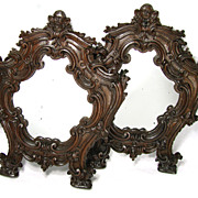 "SALE PAIR Antique Victorian Era Carved Wood 14.5"" Mirrors, Angel or Cherub Figures"