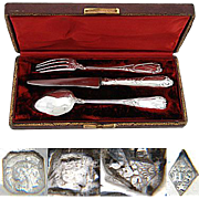 """SALE Antique French Sterling Silver 3pc Flatware Set, in Box: """"Helene"""" Inscription"""