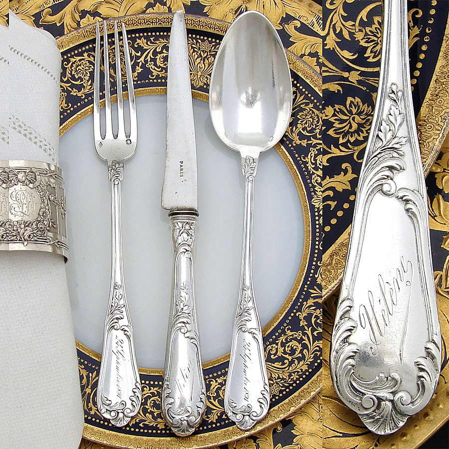 Antique French Sterling Silver 3pc Flatware Set, in Box ...