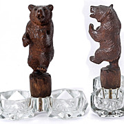 SALE PENDING Antique Black Forest Hand Carved Bear is a Double Open Salt, Figural