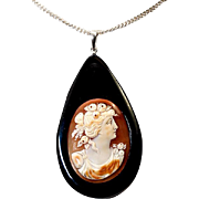 SALE Antique Victorian - Edwardian Era Carved Shell Cameo set in Large Jet TearDrop Pendant