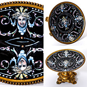 SOLD Exceptional Kiln-fired Enamel & Dore Bronze French Enamel Tazza, Figural