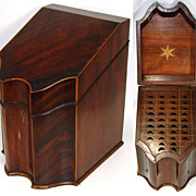 SALE Antique Georgian Era Cutlery or Knife Box, Beautiful Shape w/ Rosewood Veneers & Complete