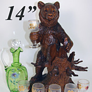 """SALE HUGE Antique Black Forest Bear 14"""" Tall, is a Liqueur Stand, Bar, Decanter & 6 ..."""