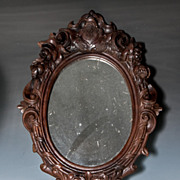 "SALE Antique Victorian Era Hand Carved Wood Black Forest Frame with ""E R"" Royal Mono"