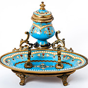 SOLD Celeste Blue! Antique TAHAN, Paris, French Kiln-fired Enamel Inkwell, Ink Pen Stand, Dore