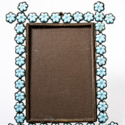 SOLD Antique French Blue Opaline Beaded Carte de Visite Photo Frame, c.1860s