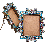 SOLD Antique Micromosaic Gem Frame, Etruscan and Early 1800s. Micro Mosaic