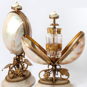 SOLD Antique Early 19th C. French Perfume or Scent Caddy, Mother of Pearl Shells, Ormolu, 3 Fl