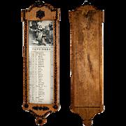 SALE Antique Napoleonic Era Wall Mount Calendar, Cut Steel Pique on Lemon Wood, French Empire