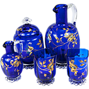 SALE Exceptional Antique French Absinthe Decanter Set, 2 Goblets, Raised Gold Enamel, Cobalt .