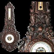 SALE RARE Antique French Gutta Percha Frame Barometer, Thermometer