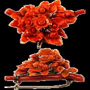 SALE Superb Antique Victorian Carved Red Coral Brooch, Floral & 15K Gold