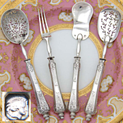 SALE Antique French Sterling Silver 4pc Hors d'Oeuvre Set, Guilloche Style Pattern & Fitted Bo