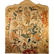 SOLD Rare Antique Needlepoint Petitpoint Tapestry Panel, c. 1700s Figural & Animals