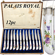 """SALE Antique French Palais Royal Marked 12pc 8"""" Table Knife Set, HP Porcelain Handles"""