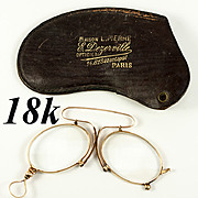 SALE Antique 18k Gold, French Pince Nez Spectacles in Fine Condition, Hallmarks  with Case