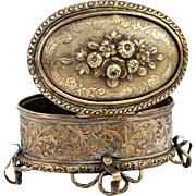 SALE Antique Italian or French Jewelry Casket, 19th c. Box, Acid Intaglio Etched Design
