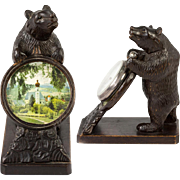 SOLD Antique Hand Carved Black Forest Bear Pocket Watch Stand, Miniature Painting, Too!  WOW.