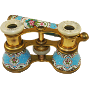 SOLD Antique French Sevres Kiln-fired Enamel Opera Glasses, Binoculars, Long Lorgnette Handle,