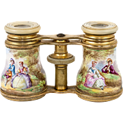 SALE Antique French Kiln-Fired Enamel Opera Glasses, Binoculars, Romantic Scenes a' la Boucher