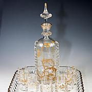 SALE Superb Antique French Cabaret, Liqueur Set by Saint Louis Crystal, Raised Gold Enamel