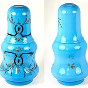 SALE Elegant Napoleon III Era French Blue Opaline Bonne Nuit, Decanter and Tumbler (Tumble-up)